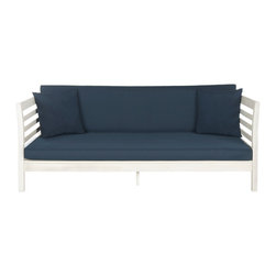 Safavieh - Malibu Daybed, Antique White, Navy Cushion - A contemporary twist on a resort classic, the Malibu daybed transforms any outdoor space into a relaxing Zen oasis.  The sleek look of single seat and back cushions in navy all-weather fabric is contrasted with eco-friendly acacia wood in antique white.