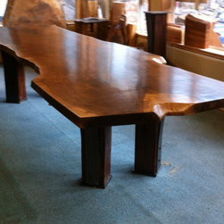 Live Edge Furniture - Claro Walnut Dining Table with Matching Console