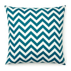 5 Surry Lane - Blue Zig Zag Indoor Outdoor Pillow - This bold, graphic chevron patterned pillow makes it easy to perk up your patio or deck.  Same fabric front and back.  Down feather insert included.  Hidden zipper closure.  Made in the USA.
