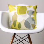 Modern Pots Print Linen Pillow Cover -