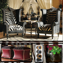 """Looking for something """"Out of the Ordinary""""?  We have that and so much more. - These authentic zebra skin chairs by Lexington show that it is all in the details.  Whether you are interested in something unique and unusual or prefer a traditional look, we have what you are looking for.  If you check our site and don't see exactly what you want, let us know and we'll help you find that perfect piece of furniture or accessory."""