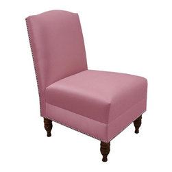 Custom Camdyn Upholstered Armless Chair, Shantung Woodrose - This rose pink chair is so very pretty. I would love to see it in a bedroom. With such a flattering color and an armless silhouette, it would be less imposing in a sleeping space.