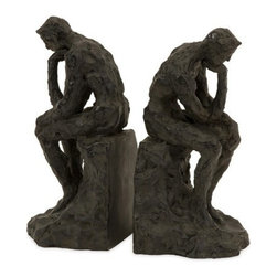 """IMAX - Thinking Man Bookends - Set of 2 - Classic sculpture of """"The Thinking Man"""" transformed into sophisticated set of two bookends. Item Dimensions: (8.5""""h x 4.25""""w x 4.25"""")"""