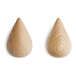 Droplet Wall Hooks - Set of 2 - Whether you need just a light sprinkle or a whole monsoon, these droplet-shaped hooks are ready to hang all your coats, towels, and other necessities. Made of hard-wearing natural wood, when these pieces aren't in use they make great wall accents. And they'll only look better with age.
