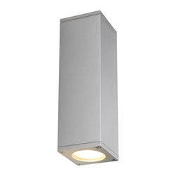SLV Lighting - Theo Up Down Wall Sconce - Theo Up Down Wall Sconce is available in white, silver grey, or aluminum natural finish options. Two 35-watt, 120 volt GU10 base halogen bulbs are required, but not included. Dimensions: 2.7W x 8.8H x 2.9D.