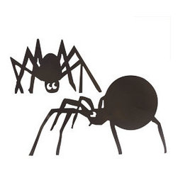 Spooky Spider Yard Art - Set of 2 - These giant scary creatures will not only frighten arachnophobics but all the little trick-or-treaters that visit your home. They are large too, so they work in even the largest of yards for a big impact. Each has stakes attached so you can set them up as soon as they arrive at your door!