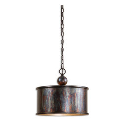 Uttermost - Uttermost Albiano Drum Shade Pendant Light in Oxidized Bronze - Shown in picture: Oxidized Bronze Finish With A Antiqued Silver Inside. Complex tonalities of metallic oxidation enrich these classic - simple shapes.