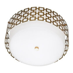Robert Abbey Lighting - Robert Abbey Jonathan Adler Parker Flush Mount in Brass - Direct Wire Only.  Antique Brass Finish over SteelFrosted White Cased Glass Shade and Perforated Metal Outer Shade.