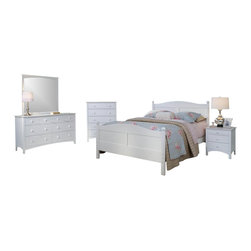 Bolton Furniture - Cottage Queen Bed w 4 Pc Essex Collection in White Finish - Includes Cottage queen headboard, footboard and side rails, Essex drawer chest, nightstand and dresser & mirror set. Dovetailed drawers and self-closing under mount glides. Made of solid maple and maple veneers. Queen size bed:64 in. L x 85 in. W x 47 in. H. 5 Drawer chest: 36 in. W x 19 in. D x 46 in. H (124 lbs.). 3 Drawer Nightstand: 22 in. W x 19 in. D x 24 in. H. 7 Drawer Dresser:60 in. W x 19 in. D x 34 in. H (185 lbs.). Landscape Mirror: 43 in. W x 40 in. H. Assembly required. 1-Year warranty