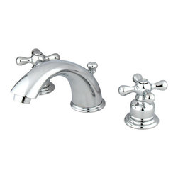 Kingston Brass - Two Handle 4in. to 8in. Mini Widespread Lavatory Faucet with Retail Pop-up - Two Handle Deck Mount, 3 Hole Sink Application, 4in. to 8in. Widespread, Fabricated from solid brass material for durability and reliability, Premium color finish resists tarnishing and corrosion, 1/4 turn On/Off water control mechanism, 1/2in. IPS male threaded inlets with rigid copper piping, Duraseal washerless cartridge, 2.2 GPM (8.3 LPM) Max at 60 PSI, Integrated removable aerator, 5-3/4in. spout reach from faucet body, 4in. overall height.