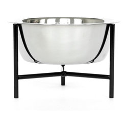 Doca Pet - Doca Pet Y.Bowl, Black, Small - Powder coated metal stand with rubber non-skid feet. Bowl includes 1 stainless steel bowl.
