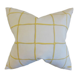 "The Pillow Collection - Owen Checked Pillow, Citrine 18"" x 18"" - Enhance the look of your indoor space with this plush accent pillow."