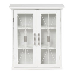 None - Veranda Bay Two-door Wall Cabinet - Enhance your living space with these white wall cabinets. These cabinets feature a birch wood veneer,satin nickel hardware,and tempered glass,making them an elegant addition to any room. Two adjustable shelves offer plenty of storage space.