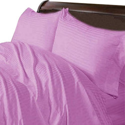 SCALA - 400TC 100% Egyptian Cotton Stripe Lavender Expanded Queen Size Sheet Set - Redefine your everyday elegance with these luxuriously super soft Sheet Set . This is 100% Egyptian Cotton Superior quality Sheet Set that are truly worthy of a classy and elegant look.Expanded Queen Size Sheet Set Includes:1 Fitted Sheet 66 Inch(length) X 80 Inch(width) (Top Surface Measurement)1 Flat Sheet 98 Inch(length) X 102 Inch(width)2 Pillow case 20 Inch(length) X 30 Inch(width)
