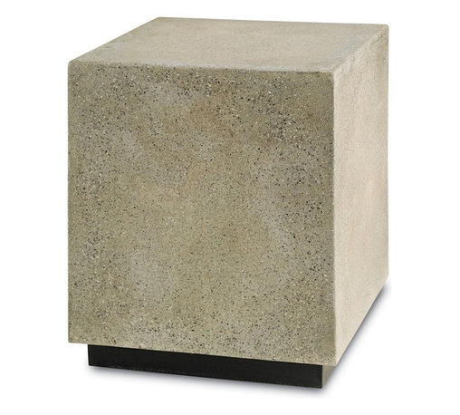 Currey and Company - Goodstone Occasional Table - Transitional occasional table in polished concrete with a wood base. Aggregate materials adds visual interest to the smooth polished surface. Could also be used as additional seating when needed.