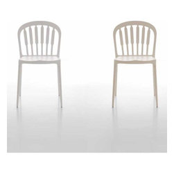 Tonin Casa - Tonin Casa   Mary Chair, Set of 2 - Made in Italy by Tonin Casa.A contemporary take on the classic chair from your childhood, the Mary Stackable Chair is molded from rigid polyurethane. The vintage design, formed from truly modern materials, features six spokes on the backrest. Its slight splayed legs are elegant and supportive. A new timeless classic, the chair exudes a young attitude and fine Italian workmanship, which will last for many generations to come.Warranty: One year limited warranty.