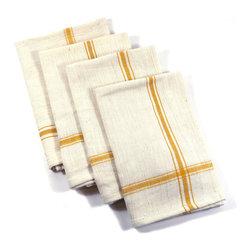 Set of 4 Canary Yellow Napkins - Set of 4 Canary Yellow 100% Cotton Napkins