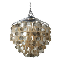 Kouboo - Round Chandlier with Capiz Shells, Gold Hue - Exquisitely crafted, each chandelier includes approximately 1,545 hand cut Capiz seashells in an elegant formation that keeps this light fixture in your home's spotlight. Tied to a silver polished iron frame, these honey tinted Capiz seashells will highlight the beauty of your home while casting a beautiful glow.1 year limited warranty.