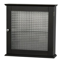 Elegant Home Fashions - Chesterfield Medicine Cabinet w Glass Panel D - Adds an attractive storage space to any bathroom. Provides much-needed room for toiletries and towels. All pieces have double plating handles. Feature waffle-glass doors. Dark espresso finish. Made of MDF, Glass. 18.5 in. W x 5.5 in. L x 18.5 in. H