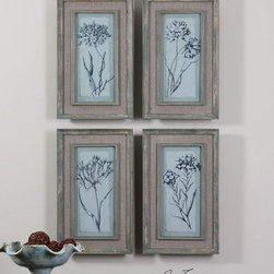 """Uttermost - Aqua Flowers Framed Art - Set of 4 - Prints Are Accented By Frames And Fillets With A Muted Aqua Base Color With Heavy Taupe And Gray Distressing. Frame's Middle Section Is An Open Weave, Taupe Linen Mat. Uttermost's Art Combines Premium Quality Materials With Unique High-style Design. Overall Dimensions: 1""""D x 12.125""""W x 20.125""""H; Mirror/Glass Depth: 0.093""""; Mirror/Glass Width: 7""""; Mirror/Glass Height: 15"""""""