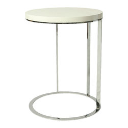 """Pastel Furniture - Pastel Metro End Table - Chrome, White Base - White Wood Top - The Metro End table is a simple yet elegant design that can add that stylish and modern flair to your living area. This 18"""" round End table comes in either black or white High gloss top with Chrome base."""