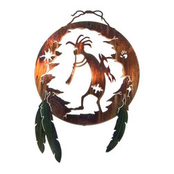 Lazart - Southwest Metal Wall Art Kokopelli Shield - Ancient  emblems  from  early  man  grace  this  southwest  kokopelli  shield  metal  wall  art  with  color  wash  feathers.  The  finely  detailed  design  is  laser  cut  for  a  precise  edge,  then  finished  with  a  hand  brushed  color  wash  finish  that  is  heat  bonded  to  the  metal.  Bringing  a  sense  of  sacred  heritage  and  hope,  this  southwest  metal  wall  art  is  a  graceful  way  to  celebrate  your  love  of  southwest  design.  Add  to  your  den,  living  room,  bedroom  or  study  for  a  quiet,  peaceful  mood  that  speaks  of  the  ages.            Click  for  more  southwest  metal  wall  art.                  Traditional  shield  design  with  kokopelli  dancer              Honey  Pinion  finish  brings  out  golden  glow  and  warm  browns              Laser  cut  precision  with  a  special  heat  transfer  finishing  process
