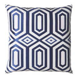 "Horchow - Hotel Soho Embroidered Pillow - Crisp white mixes with green and blue in a variety of patterns for decorative embroidered pillows that bring color and texture to sofas, chairs, beds, and more. Linen face. Finished back. Feather/down inserts. Hidden zipper in back. Dry clean. ""Ci..."