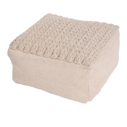 """Jaipur Rugs - Ivory/White Handmade 100% Wool Pouf (23""""X23""""X13"""") - Scandanavian poufs are coordinates to our range of rugs.  Constructed of felt and thick woolen yarn."""
