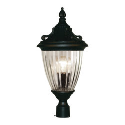 Z-Lite - Z-Lite Waterloo Outdoor X-KB-MHP405 - With feather and filigree motifs throughout the fixture, this medium post head is the definition of timeless design. The ribbed, semi-clear glass casts a bright spill of light, in perfect symmetry with the black finish. This fixture is made of cast aluminum, which is perfect for all seasons.