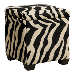 Monarch Specialties - Monarch Specialties I 8972 Tiger Fabric Storage Ottoman - Covered in a fun tiger pattern, this square piece features tapered legs and a plush top cushion to sit or rest your feet. The hidden storage space underneath the seat is ideal for stowing away desired objects. Liven up your living area or bedroom with this cool contemporary storage ottoman that will be a stylish and practical addition to your home. Ottoman (1)