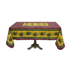 """Provence Imports - French Provencal Polyester Tablecloth - Olives Red - 59x94"""" Rectangular - This polyester tablecloth will add a French Provençal touch to your decor! This tablecloth features a beautiful """"placé"""" design with olives and wheat on a red and yellow background. """"Placé"""" means the design is printed in a rectangle and not in straight lines."""