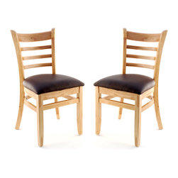 Seating Masters - US Made Ladder Back Chair - Set of 2 (Natural), Buckskin Vinyl Seat - The Premium Wood Ladder Back Chair offers a traditional design which will be sure to provide your customers with the comfort they desire.