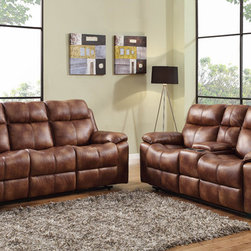 Homelegance - Homelegance Brooklyn Heights 2 Piece Double Reclining Living Room Set - Polished microfiber lends to the rough and tumble look of the Brooklyn Heights Collection. After a long day of work or an afternoon spent watching the game, you want a comfortable spot to relax with your family and friends. This stylish reclining group offers dual recliners on both the sofa and love seat and gliding single recliner on the accompanying chair. Corner wedge is available to transform this versatile seating collection into a luxurious sectional. The love seat features dual cup holders and hidden storage. - 9635PM-3-2-SET.  Product features: Dual recliners; Dual cup holders and hidden storage; Brown polished microfiber. Product includes: Sofa (1); Loveseat (1). 2 Piece Double Reclining Living Room Set belongs to Brooklyn Heights Collection by Homelegance.