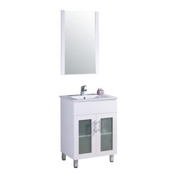 """Legion Furniture - Legion Furniture 24 Inch Single Bathroom Vanity - This 24 inch modern single sink bathroom vanity is a perfect center piece for your bathroom project.  This White bathroom vanity features 2 Doors, 1 Interior Shelf , and a White Ceramic with Integrated Sink that is pre-drilled for a standard single hole faucet (faucet not included). Large opening in back for easy plumbing installation. Dimensions: 24""""W X 18""""D X 33.5""""H; Counter Top: White Ceramic with Integrated Sink; Finish: White; Features: 2 Doors, 1 Interior Shelf; Hardware: ; Sink(s): Integrated White Ceramic Sink; Faucet: Pre-Drilled for Single Hole Faucet (Not Included); Assembly: Fully Assembled; Large cut out in back for plumbing; Included: Cabinet, Sink, Mirror (20""""W X 2""""D X 31.5""""H); Not Included: Backsplash, Faucet"""