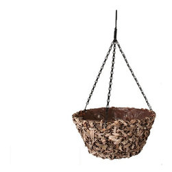 Amalia Natural Tapered Hanging Basket - A hanging basket is a wonderful way to add interest to an outdoor space, the Amalia Natural Tapered Hanging Basket lets you get that look in a very unique way. This rustic basket has a lovely naturalistic look with all of the appeal of a classic hanging style but is a departure from traditional wicker. The metal frame is finished with twisted seagrass that adds color and texture to the planter's tapered exterior. A plastic liner is used to keep the natural material in excellent condition, and the basket has a stiff swivel chain hanger for your convenience.