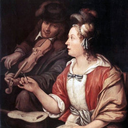 "The Elder Frans Van  Mieris The Music Lesson - 16"" x 20"" Premium Archival Print - 16"" x 20"" The Elder Frans Van  Mieris The Music Lesson premium archival print reproduced to meet museum quality standards. Our museum quality archival prints are produced using high-precision print technology for a more accurate reproduction printed on high quality, heavyweight matte presentation paper with fade-resistant, archival inks. Our progressive business model allows us to offer works of art to you at the best wholesale pricing, significantly less than art gallery prices, affordable to all. This line of artwork is produced with extra white border space (if you choose to have it framed, for your framer to work with to frame properly or utilize a larger mat and/or frame).  We present a comprehensive collection of exceptional art reproductions byThe Elder Frans Van  Mieris."