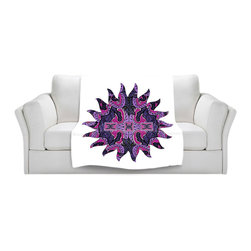 DiaNoche Designs - Fleece Throw Blanket by Susie Kunzelman - Purple Maze Sun - Original Artwork printed to an ultra soft fleece Blanket for a unique look and feel of your living room couch or bedroom space.  DiaNoche Designs uses images from artists all over the world to create Illuminated art, Canvas Art, Sheets, Pillows, Duvets, Blankets and many other items that you can print to.  Every purchase supports an artist!