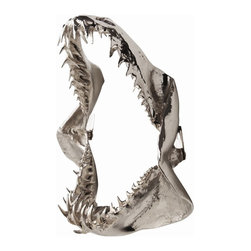 Arteriors - Kanye Jaws Sculpture - Start your own natural history museum with this astonishing jaws sculpture. You can hang it either vertically or horizontally to fit your wall space. The polished nickel, cast aluminum sculpture will have a jaw-dropping effect on your friends.