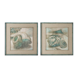 Uttermost - Coastal Gems Framed Art, Set of 2 - What's that you say? Come visit your beach house? Even if your home is not situated directly on the sand it can still be the seaside escape you have dreamed of. These framed oil reproductions of serene aquatic life feature a hand-applied brushstroke finish and the calming effect of waves crashing right outside your window.
