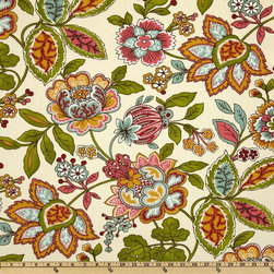 Covington Sadie Floral Aqua/Orange Fabric - Orange is not the primary color here, but it would be the color that I would pull out in the surrounding furnishings to really make this gorgeous pattern pop.