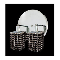 Elegant Lighting - Mini Jet Crystal Sconce w 2 Lights in Chrome (Strass Swarovski) - Choose Crystal: Strass Swarovski. Bulbs not included. Crystal Color: Jet (Black). Chrome finish. Number of Bulbs: 2. Bulb Type: GU10. Bulb Wattage: 55. Max Wattage: 110. Voltage: 110V-125V. Assembly required. Meets UL & ULC Standards: Yes. 9 in. D x 13.5 in. H (6lbs.)Description of Crystal trim:Royal Cut, a combination of high quality lead free machine cut and machine polished crystals & full-lead machined-cut crystals..SPECTRA Swarovski, this breed of crystal offers maximum optical quality and radiance. Machined cut and polished, a Swarovski technician¢s strict production demands are applied to this lead free, high quality crystal.Strass Swarovski is an exercise in technical perfection, Swarovski ELEMENTS crystal meets all standards of perfection. It is original, flawless and brilliant, possessing lead oxide in excess of 39%. Made in Austria, each facet is perfectly cut and polished by machine to maintain optical purity and consistency. An invisible coating is applied at the end of the process to make the crystal easier to clean. While available in clear it can be specially ordered in a variety of colors.Not all trims are available on all models.