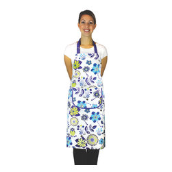 MU Kitchen MUincotton Apron Bromley - Show off your style with the new MU Kitchen MUincotton Bromley print apron.  This 100% cotton apron features 2 large chef's pockets on the front and an adjustable ring for easy adjustment.  Comfort and style together in one beautiful package.Product Features                      100% cotton          Durable herringbone weave          2 large chef pockets             Adjustable ring at neck for easy size adjustment          Extra long ties for comfort