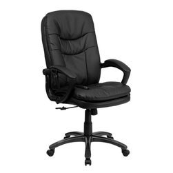Flash Furniture - Mid-Back Massaging Black Leather Executive Office Chair - Enjoy a relaxing massage in the comfort of your own office or home with this incredibly comfortable Massaging Executive Office Chair by Flash Furniture. The included remote has a variable slider intensity mode to get to your desired comfort level and has a designated side pocket when not in use. Chair features a mid-back contemporary design with soft leather upholstery and double padded seat and back. Get the most out of your next office chair with this Overstuffed Padded Executive Chair with included Massage feature.
