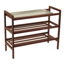 Winsomewood - Mudroom Shoe Rack with Tray and Shelf - Shoe rack. With removable sink tray, this unique product is nice to have it especially in wet weather. Warm walnut finish