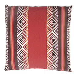 Designer Fluff - Trading Post Poppy Pillow, 20x20 - Add a dash of tribal style with this pillow. Stripes and squares in red, orange, plum, coral and ivory are reminiscent of Navajo rugs and blankets. Made of cotton and viscose, each comes with a hidden zipper and comes in your choice of sizes, inserts and edges.
