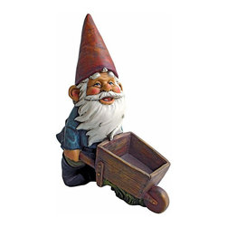 EttansPalace - Decorative Wheel Barrel Willie: Garden Gnome Statue - Our garden gnome is ready for his farmyard chores and He's even brought his trusty wheelbarrow to assist! Endowed with an oversized, pointed red gnome hat, this unique garden gnome statue promises to lend his magic to home or garden. Lovingly sculpted, then intricately cast in quality designer resin, this exclusive garden gnome sculpture is hand-painted one piece at a time exclusively by skilled gnome artisans.