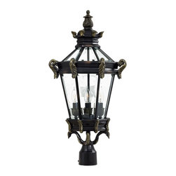 Minka Lavery - Minka Lavery Outdoor 8936-95 Stratford Hall 4 Light Post Mount - Heritage with Gold Highlights Finish