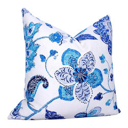 PillowFever. - Floral Linen Pillow Cover in Ultramarine - This beautiful pillow cover has floral print on white background. Main colors are: white, navy blue, light blue, ultramarine blue.