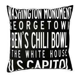 "Uptown Artworks - Washington DC Pillow - Features: -Material: Natural cotton / linen. -We recommend spot-cleaning or wash in cool water with phosphate-free detergent. -Zipper closure, plush feather and down insert. -Made in the United States. -Eco-friendly. -Overall dimensions: 20"" H x 20"" W, 2 lbs."