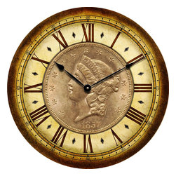 "CoinClocks - 1857 Coin Clock, 30"" - Reproduction of an 1857 Coin will look fabulous in your home of office"